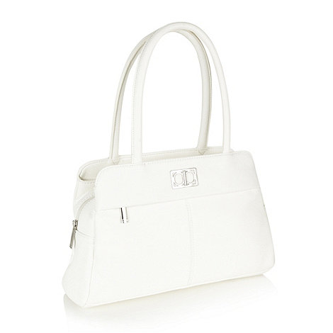 The Collection - White grained three section handbag