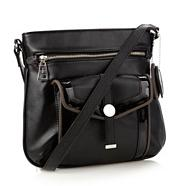 Designer black cross hatch cross body bag