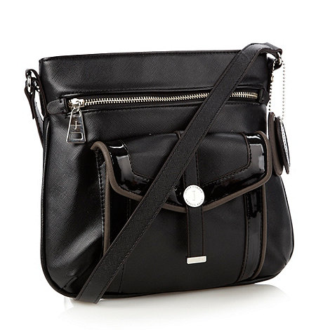 J by Jasper Conran - Designer black cross hatch cross body bag