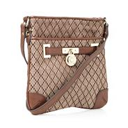 Designer brown jacquard cross body bag