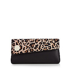 J by Jasper Conran - Natural leather leopard print clutch bag