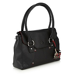 The Collection - Black leather stitch shoulder bag