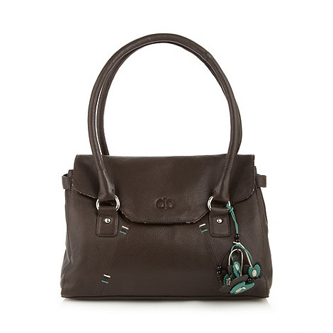 The Collection - Chocolate leather stitch handbag