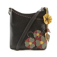Black leather applique flower cross body bag