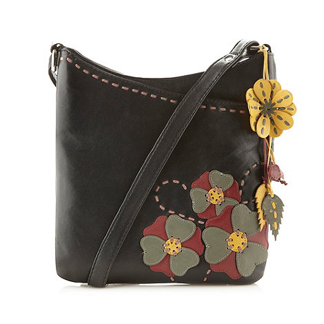 The Collection - Black leather applique flower cross body bag