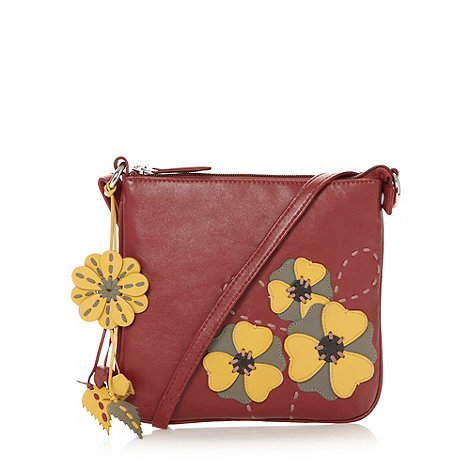 The Collection - Red leather pansy cross body bag