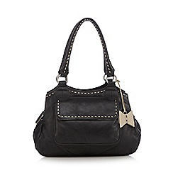 The Collection - Black leather stab stitch grab bag