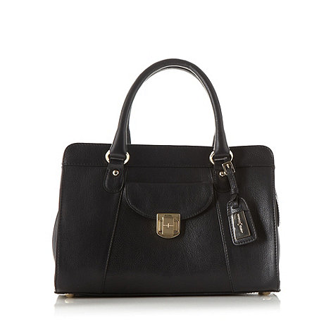 J by Jasper Conran - Designer black leather twist lock grab bag
