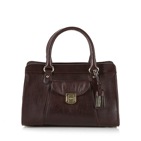 null - Designer dark tan leather twist lock front tote bag