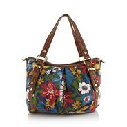 Blue floral canvas shoulder bag