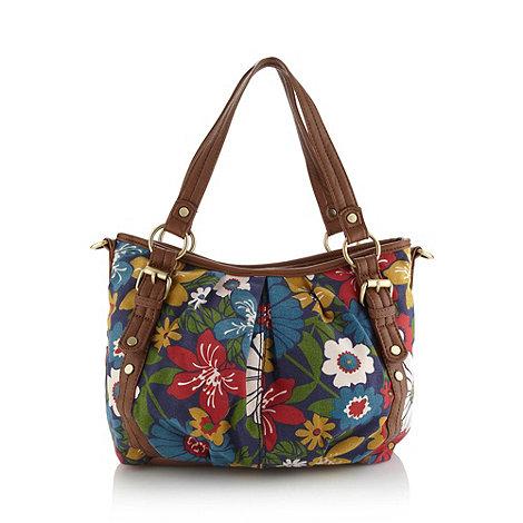 The Collection - Blue floral canvas shoulder bag