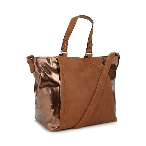 The Collection - Tan metallic winged tote bag