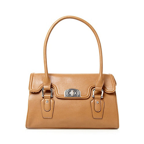 The Collection - Tan textured clasp shoulder bag