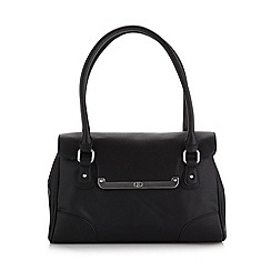 The Collection - Black bar flapover shoulder bag