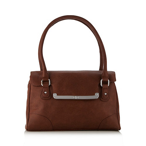 The Collection - Tan bar flapover shoulder bag
