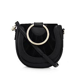 RJR.John Rocha - Black leather ring handle saddle bag