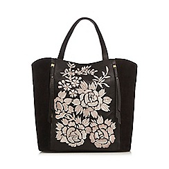 RJR.John Rocha - Black leather floral embroidered tote bag