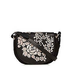 RJR.John Rocha - Black leather floral embroidered cross body bag