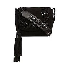 Nine by Savannah Miller - Black suede beaded saddle bag