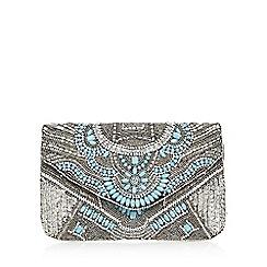 Nine by Savannah Miller - Silver bead embellished envelope clutch bag