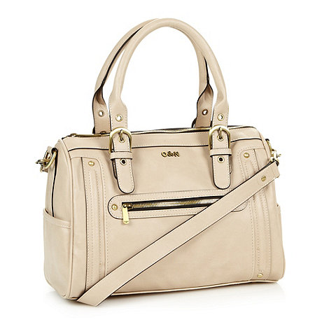 Ollie & Nic - Beige studded and buckled grab bag