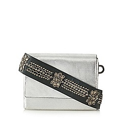 Nine by Savannah Miller - Silver leather embellished strap cross body bag