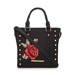 Red Herring - Black embroidered cross body bag