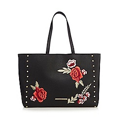 Red Herring - Black floral embroidered shopper bag