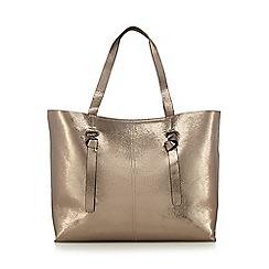 Red Herring - Gold crackled effect knotted detail large shopper bag