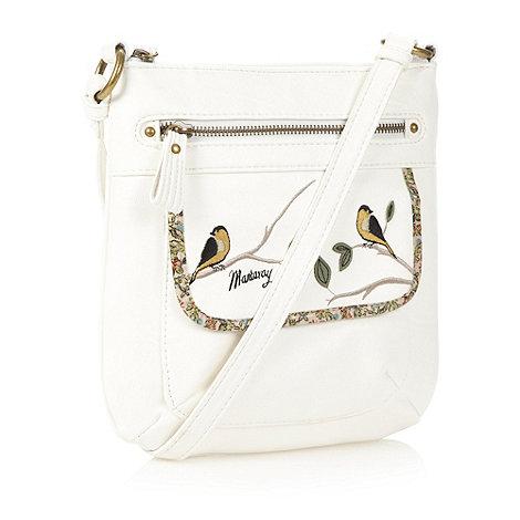 Mantaray - White bird embroidered cross body bag