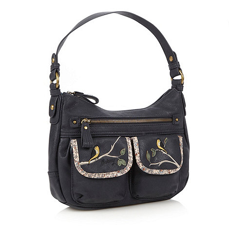 Mantaray - Navy bird embroidered handbag