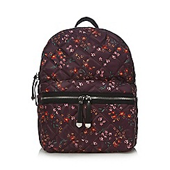 Red Herring - Dark red floral print quilted backpack