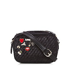 Red Herring - Black velvet pin detail small cross body bag