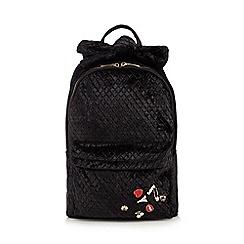 Red Herring - Black velvet pin detail backpack