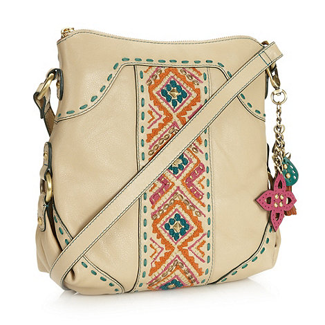 Butterfly by Matthew Williamson - Designer cream embroidered leather cross body bag