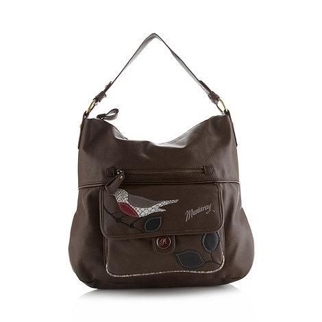 Mantaray - Chocolate applique bird shoulder bag
