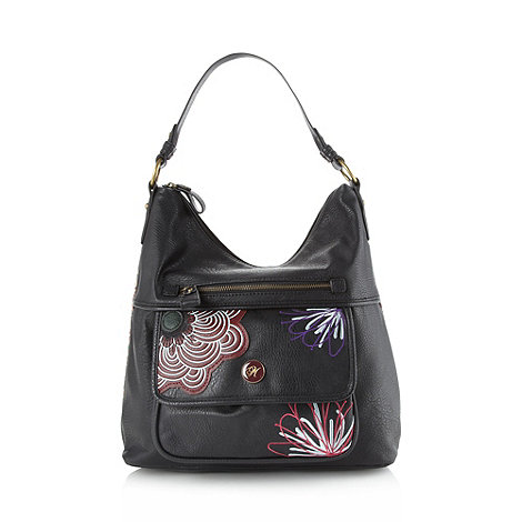 Mantaray - Black embroidered flower shoulder bag