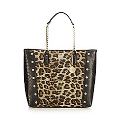 Faith - Black leopard print studded large tote bag
