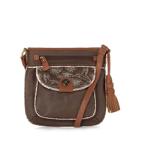 Mantaray - Brown embroidered pocket cross body bag