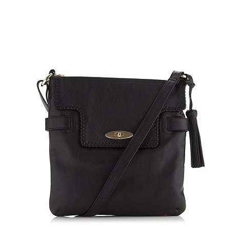 RJR.John Rocha - Designer black leather whipstitch cross body bag