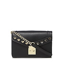 Floozie by Frost French - Black shimmer heart stud cross body bag