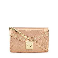 Floozie by Frost French - Bronze shimmer heart stud cross body bag