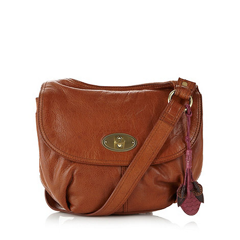 null - Tan leather twist lock cross body bag
