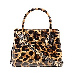 The Collection - Multi-coloured leopard print patent small grab bag