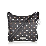 Black spotted coated canvas cross body bag