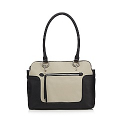 The Collection - Cream leather colour block grab bag