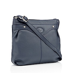 The Collection - Navy leather logo detail cross body bag