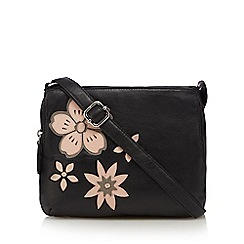 The Collection - Black leather floral applique  cross body bag