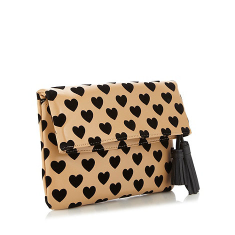 Red Herring - Tan flocked heart clutch bag