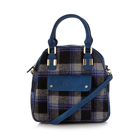 H! by Henry Holland - Designer blue tartan pocket grab bag